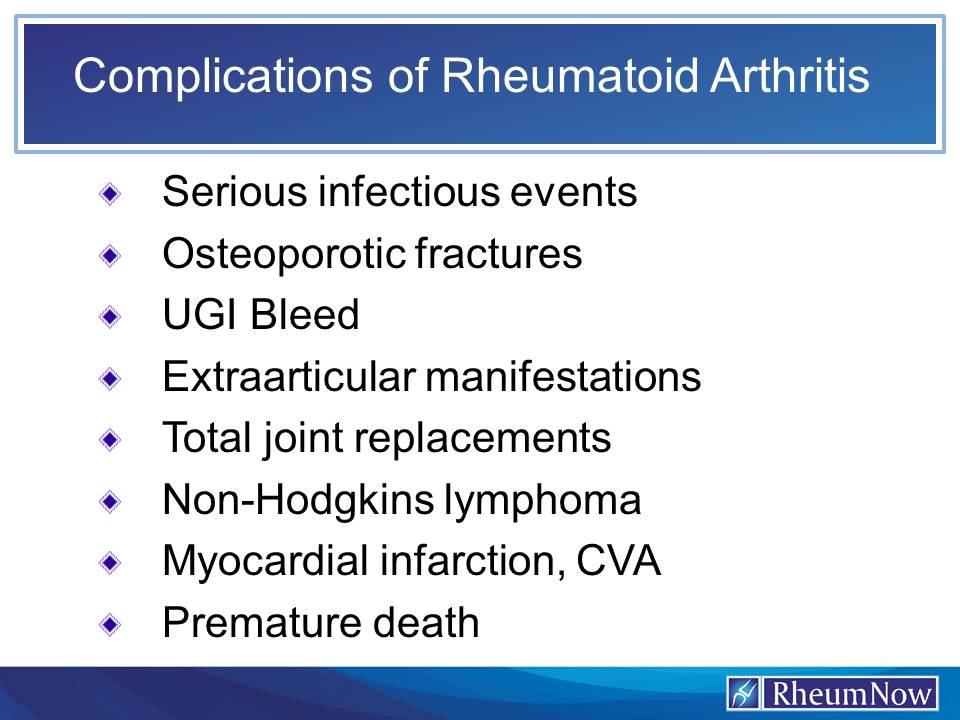 Info about Rheumatoid Arthritis - Rheumatoid Arthritis complications